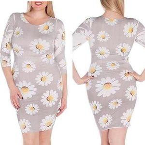 Plus Size Floral Daisy Print Flower Dress 1X 2X